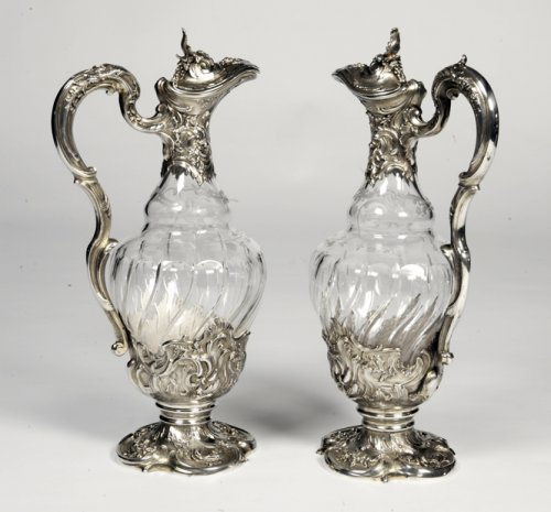 Pair of ewers in crystal and silver -Late XIXth by Labat et Pugibet -