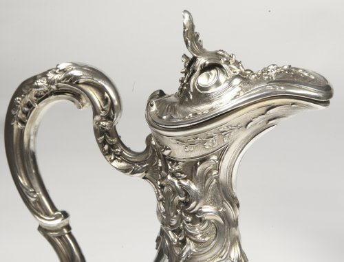- Pair of ewers in crystal and silver -Late XIXth by Labat et Pugibet