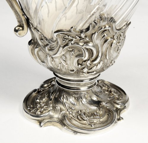 Antiquités - Pair of ewers in crystal and silver -Late XIXth by Labat et Pugibet