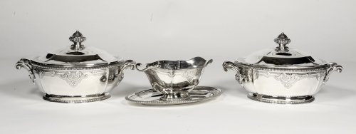 Silver vegetables and sauce pan late XIXth by Lapparra - Antique Silver Style