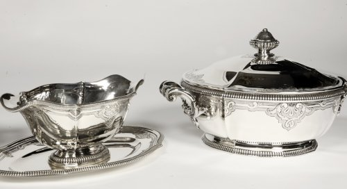Silver vegetables and sauce pan late XIXth by Lapparra -