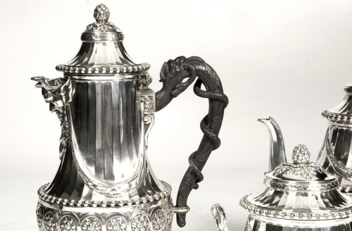 Tea and coffee set late 19th by Cardeilhac - Antique Silver Style