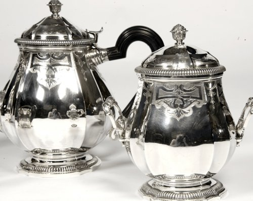 Service the / coffee silver - late xix by Broliquier and Rodet - Antique Silver Style