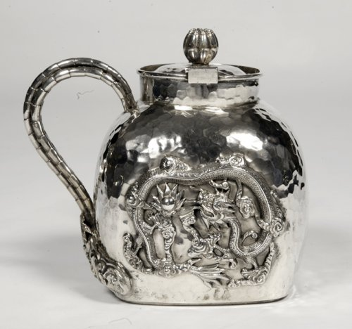 Antique Silver  - Chinese silver teapot - early 20th by Tu Mao Xing