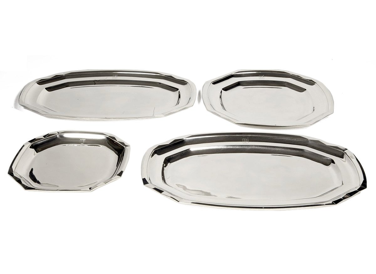 Suite of four plates in silver- art deco by Boucheron  sc 1 st  Anticstore : art deco dinnerware - pezcame.com