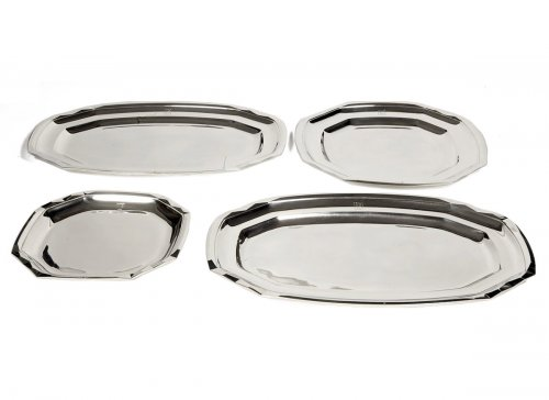 Suite of four plates in silver- art deco by Boucheron - Tetard