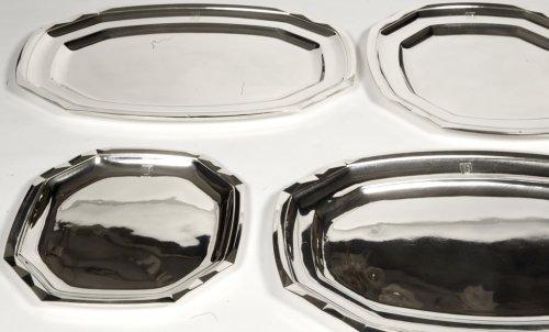 Suite of four plates in silver- art deco by Boucheron - Antique Silver Style Art Déco