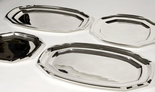 Antique Silver  - Suite of four plates in silver- art deco by Boucheron