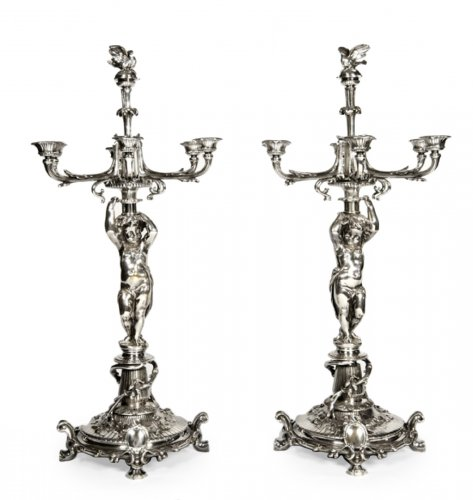 Pair of candelabra in silver bronze - by Christofle