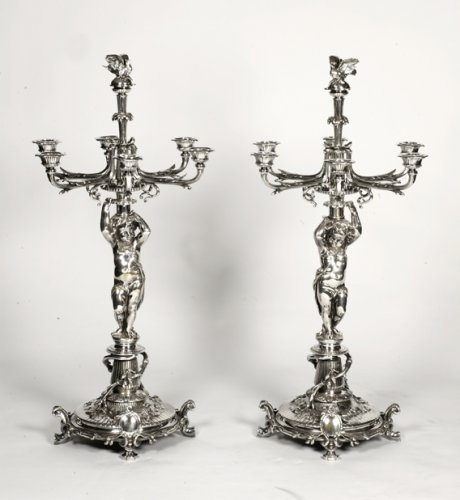 Pair of candelabra in silver bronze - by Christofle - Lighting Style