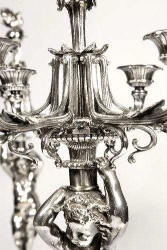 - Pair of candelabra in silver bronze - by Christofle