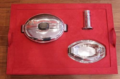 silver form pieces in a chest art deco by silversmith Coignet - Art Déco