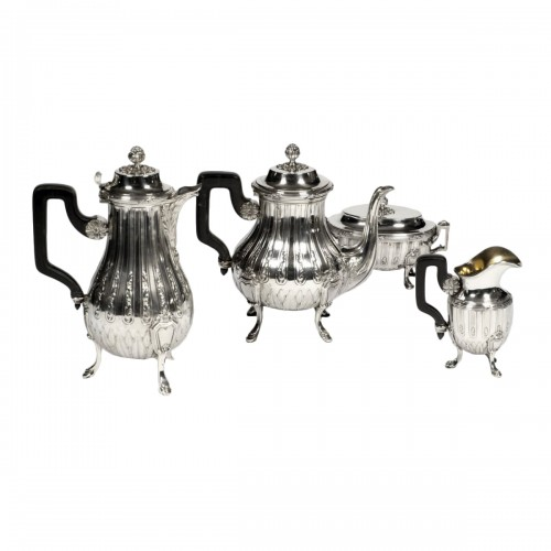 Tea coffee set in silver late 19th century by silversmith Cardeilhac