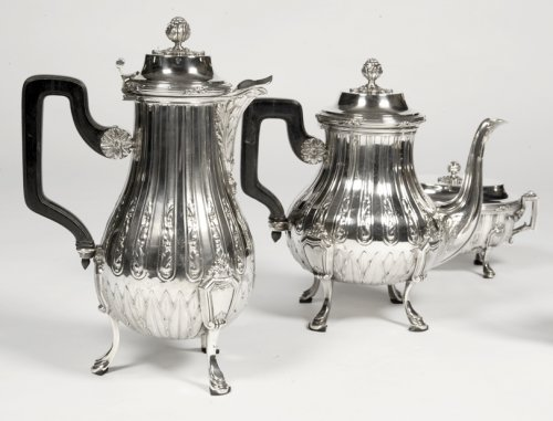 Tea coffee set in silver late 19th century by silversmith Cardeilhac -