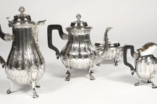 19th century - Tea coffee set in silver late 19th century by silversmith Cardeilhac