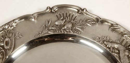 Pair of solid silver plates, early 20th  by J. Chaumet  -