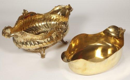 Gilt metal Gardener silversmith BOIN TABURET XIXth - Napoléon III