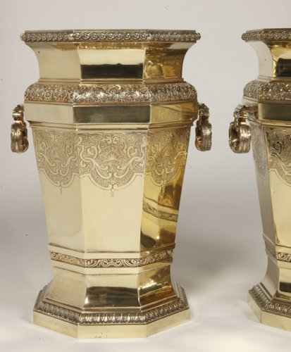 Antique Silver  - Boin Taburet - important pair of wine cooler in silvergilt