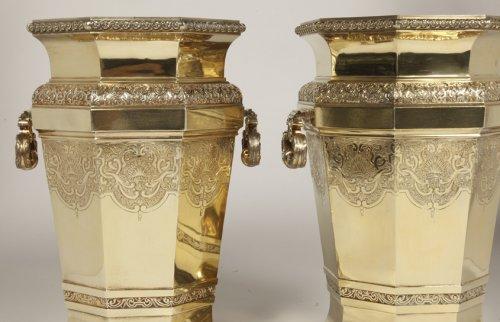 Boin Taburet - important pair of wine cooler in silvergilt -