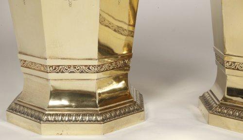 20th century - Boin Taburet - important pair of wine cooler in silvergilt