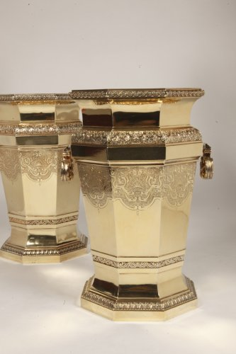 Boin Taburet - important pair of wine cooler in silvergilt - Art nouveau