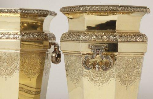 Art nouveau - Boin Taburet - important pair of wine cooler in silvergilt