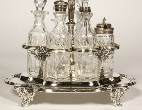 Odiot - condiment cabaret in silver and crystal flacons - Antique Silver Style Napoléon III