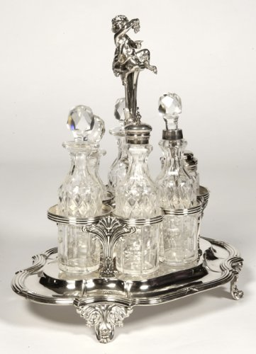 Antique Silver  - Odiot - condiment cabaret in silver and crystal flacons