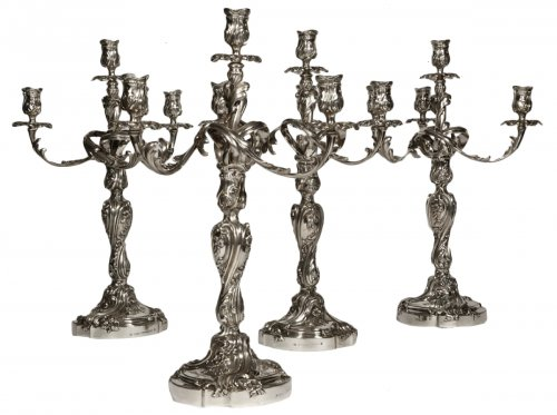 ODIOT - Set of four Louis XV style solid silver candelabra