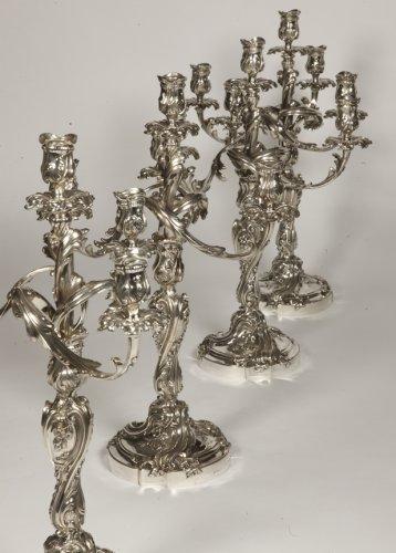 ODIOT - Set of four Louis XV style solid silver candelabra - Antique Silver Style Napoléon III