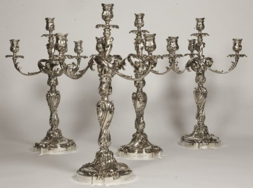 19th century - ODIOT - Set of four Louis XV style solid silver candelabra