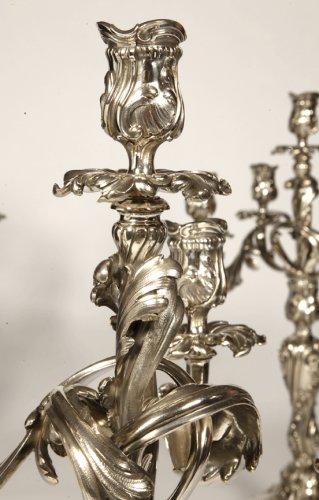 Napoléon III - ODIOT - Set of four Louis XV style solid silver candelabra