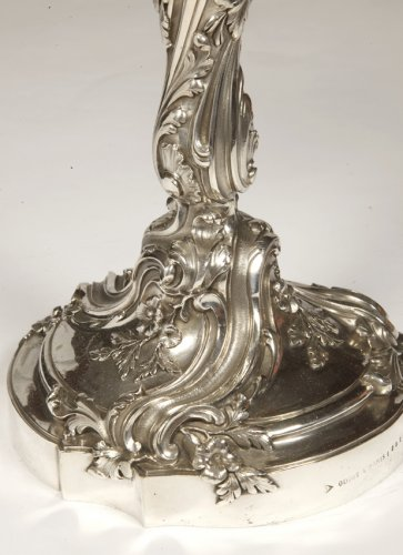 Antiquités - ODIOT - Set of four Louis XV style solid silver candelabra