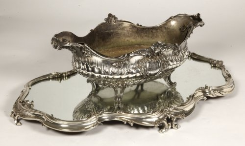 Antiquités - Puiforcat - Surtout de table silver and mirror 19th
