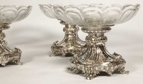 Silversmith Gustave ODIOT - Set of four silver and Baccarat crystal cups -