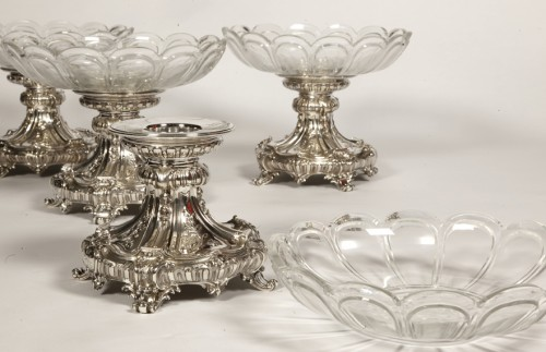 19th century - Silversmith Gustave ODIOT - Set of four silver and Baccarat crystal cups