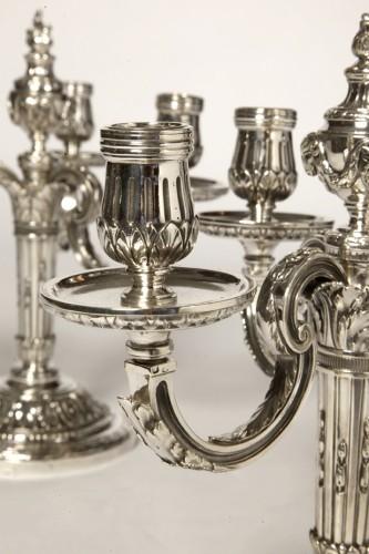 Pair of silver candelabra nineteenth BOIN TABURET -