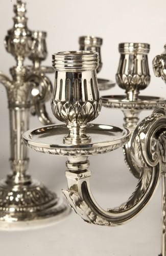 19th century - Pair of silver candelabra nineteenth BOIN TABURET