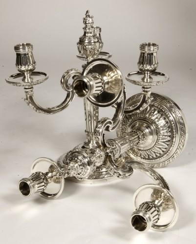 Antiquités - Pair of silver candelabra nineteenth BOIN TABURET