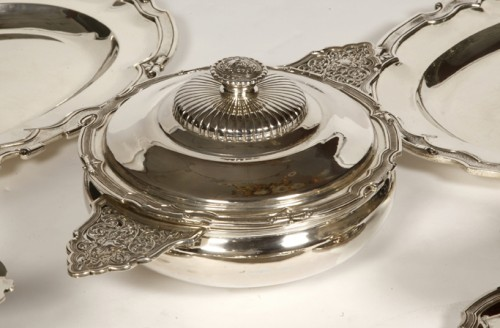 Set of dishes, vegetables and sauciers in silver by CARDEILHAC -