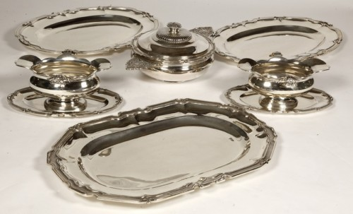 19th century - Set of dishes, vegetables and sauciers in silver by CARDEILHAC