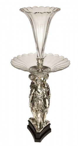 Centerpiece Bronze Silver and Crystal ' Three Graces ' Barbedienne