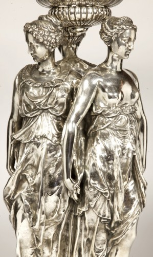 Antique Silver  - Centerpiece Bronze Silver and Crystal ' Three Graces ' Barbedienne