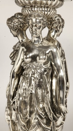 19th century - Centerpiece Bronze Silver and Crystal ' Three Graces ' Barbedienne