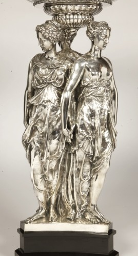 Centerpiece Bronze Silver and Crystal ' Three Graces ' Barbedienne - Napoléon III