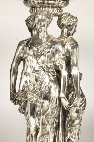 Antiquités - Centerpiece Bronze Silver and Crystal ' Three Graces ' Barbedienne