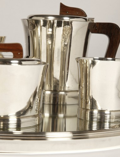 Set tea coffee in silver by JEAN E. PUIFORCAT - Antique Silver Style Art Déco