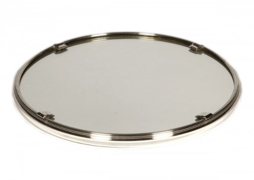 Silver tray with mirror bottom by CARDEILHAC