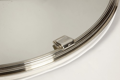 Silver tray with mirror bottom by CARDEILHAC -