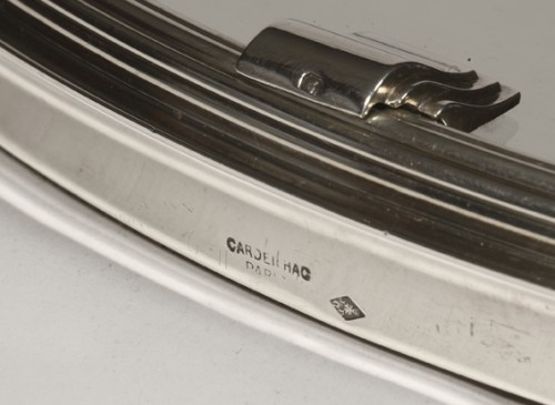 20th century - Silver tray with mirror bottom by CARDEILHAC